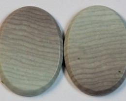 35.80 CTS WAVE JASPER PAIR FLAT CAB POLISHED STONE
