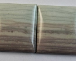 24.10 CTS WAVE JASPER PAIR FLAT CAB POLISHED STONE