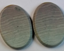 31.20 CTS WAVE JASPER PAIR FLAT CAB POLISHED STONE