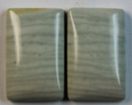17.80 CTS WAVE JASPER PAIR FLAT CAB POLISHED STONE