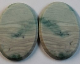 27.05 CTS WAVE JASPER PAIR FLAT CAB POLISHED STONE