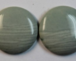 24.80 CTS WAVE JASPER PAIR FLAT CAB POLISHED STONE