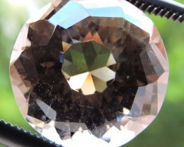 6.75ct ROUND FACETED BRAZILIAN SMOKEY QUARTZ GEMSTONE CUT IN THE U.S MJ101