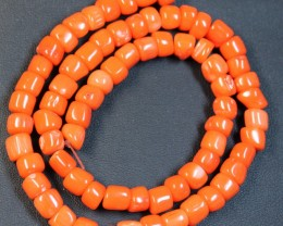 212 CTS RED CORAL STRAND OF BEADS