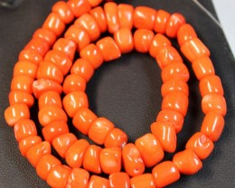 208 CTS RED CORAL STRAND OF BEADS
