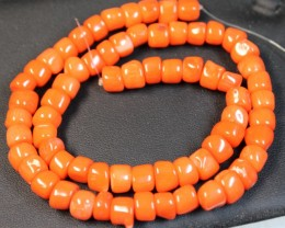 244 CTS RED CORAL STRAND OF BEADS