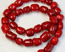 434 CTS RED CORAL STRAND OF BEADS