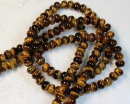 414 CTS  - 2 STRANDS TIGER EYE NATURAL POLISHED BEADS