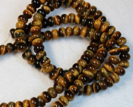 421 CTS  - 2 STRANDS TIGER EYE NATURAL POLISHED BEADS