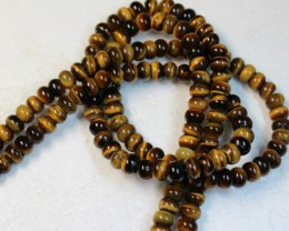 424 CTS  - 2 STRANDS TIGER EYE NATURAL POLISHED BEADS