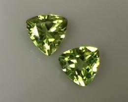 A Top Pair of Jewellery grade Peridot gems - Trilliant cut