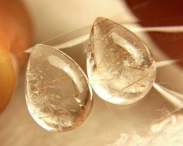 13.29 Tcw. Matched Rutile Quartz Pears - Gorgeous
