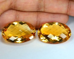 47.39Cts Natural Golden Yellow Citrine Oval Checker board Pair Brazil NR GE