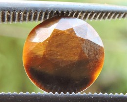 2.05ct TIGER EYE ROUND FACETED SPECIMEN GEMSTONE FROM MOZAMBIQUE