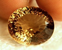 18.34 Carat Golden Brown South American VVS1 Concave Topaz