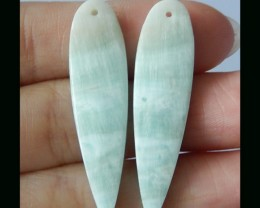 Natural Hemimorphite Earring Bead Pair - 40x10x3 mm