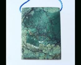 Vintage Turquoise Gemstone Pendant Bead - 32x24x5 MM