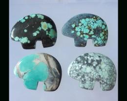 4 pcs Natural Turquoise Cabochons  - 45x33x5 MM