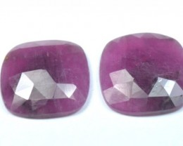 16.8mm Pair red Ruby cushion square Rose cut cabochon