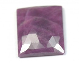 15mm red Ruby oblong rectangle faceted Rose cut cabochon