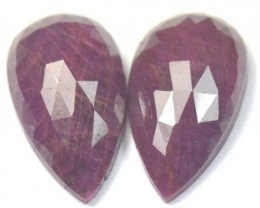 24.5mm Pair red Ruby drop pear shape Rose cut cabochon