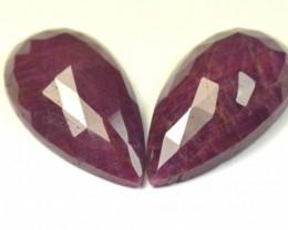 24.5mm Pair red Ruby drop pear shape Rose cut cabochon