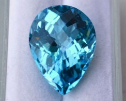13.75 Carat Pear Checkerboard Cut Fine Electric Blue Topaz