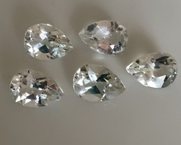 12.40ct Parcel of 5 Jewellery grade Silver White Topaz gems - Top stones
