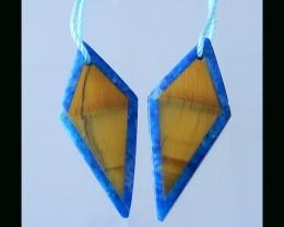 16Ct Lapis Lazuli ,Gold Tiger Eye Inatarsia Earring Beads - 29x12x3 MM(B180