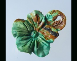 Hand Carved Turquoise Flower Carving -35x29x5 MM