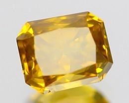 CERTIFIED 0.77ct EYE CLEAN Raidiant Cut Fancy GOLDEN YELLOW Natural DIAMOND