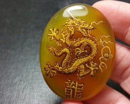 48mm Chinese Dragon hand painted gold yellow cabochon with real gold 48 by
