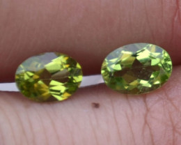 1.76 Carat Nice Near Matched Pair of Oval Cut Peridot