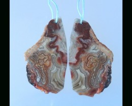 Nugget Crazy Lace Agate Earring Bead - 47x26x4 MM