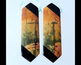 Multi Color Picasso Jasper,Obsidian Inatrsia Earring Bead - 39x12x5 MM