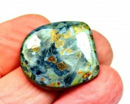 Pietersite cabochon blue gold designer cut