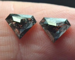 8mm 1.85ct Pair salt pepper grey pentagon diamonds