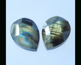 Faceted Labradorite Cabochon Pair -  20x15x9 MM