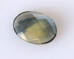 1.37cts Natural Australian Yellow Parti Sapphire Oval Checker Board Cut