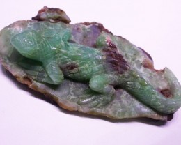 210 CTS CHRYSOPRASE LIZARD  CARVING-[SHP12 ]