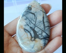 Picture Jasper Teardrop Pendant Bead -  60x40x6 MM