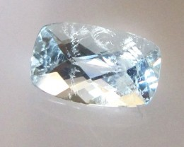 1.05cts Natural Aquamarine Cushion Checker Board Cut