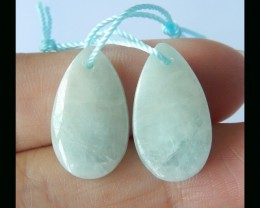 Vintage Teardrop Blue Aquamarine Earring Bead ,19x2x5 MM