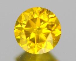 0.51ct Brilliant Fancy EYE CLEAN Round Cut FANCY YELLOW Natural DIAMOND