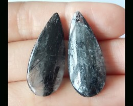 Black Rultilated Quartz Earring Beads,32x13x5 MM