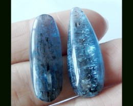 Natural Blue Apatite Cabochon , 28x10x4 MM