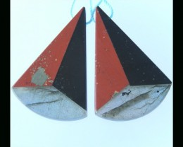 Labradorite, Red River Jasper, Obsidian, Intarsia Earring Bead ,38x25x4 MM