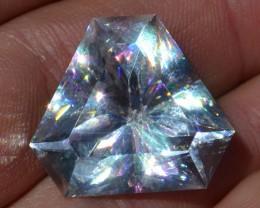 31.74 Carat Fantastic Fancy Trillion Cut Gem Quality Calcite with Kaleidosc