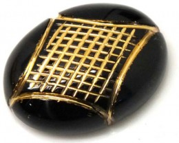 BLACK ONYX  15.2 CTS 24KGOLD ENGRAVED  LG-611
