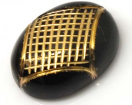BLACK ONYX 17.55 CTS 24KGOLD ENGRAVED  LG-614